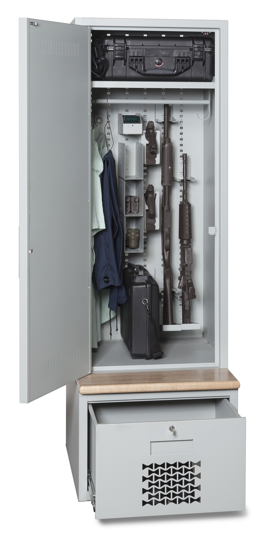 Tactical Gear Locker Open With Wooden Bench