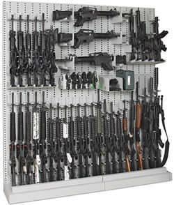 Single-Sided Expandable Weapon Rack With Weapons