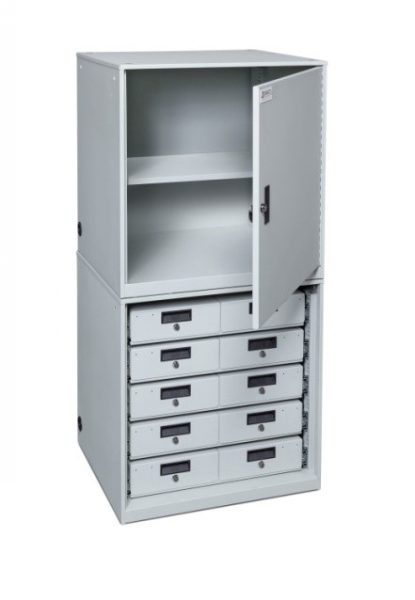 Stacked Taser Storage Cabinet With Drawers and Open Configurations