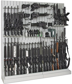 Single-Sided Expandable Weapon Storage Rack With Weapons