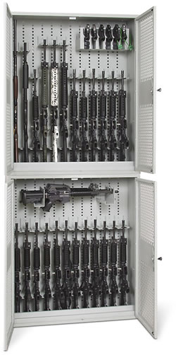 Stacked 48-Inch High Open Stackable Weapon Lockers