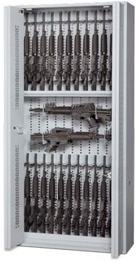 84-Inch High Open Bi-Fold Weapon Rack with Guns Stored