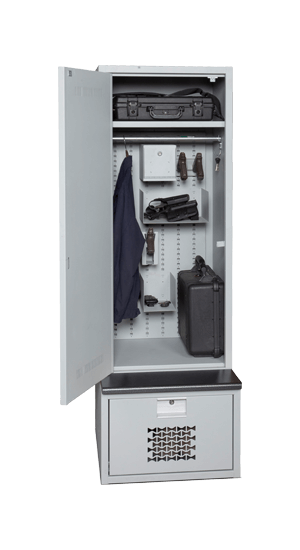 Tactical Gear Locker Open With Metal Bench