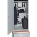 Open Tactical Gear Locker with Wooden Bench