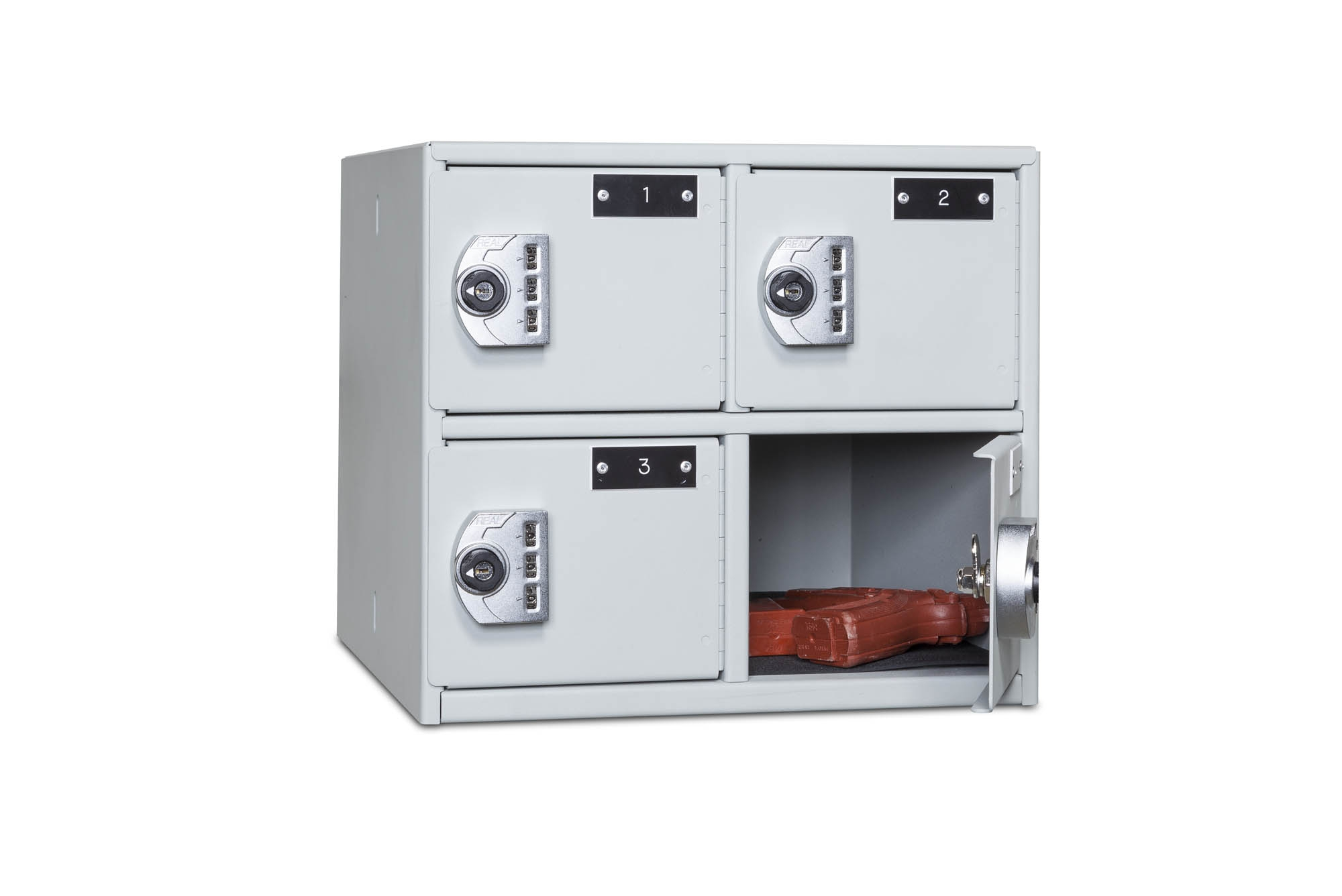 4-Compartment Compact Sidearm Locker Door Open