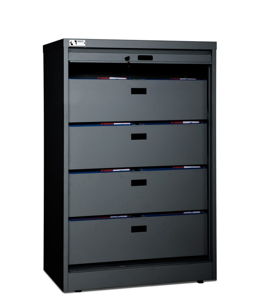 55-Inch High Secure Media Cabinet With 4 Bin Drawers