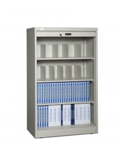 60 Inch High Secure Media Storage Cabinet Open With File Storage