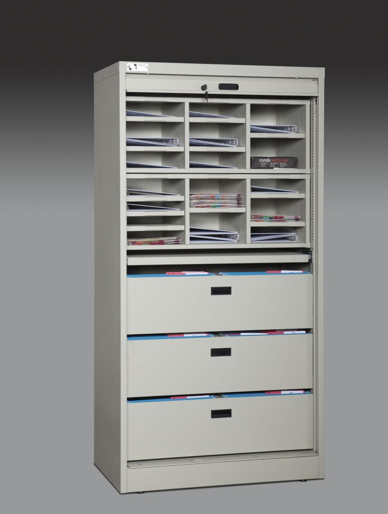 Open 72-Inch High Secure Media Cabinet With Components