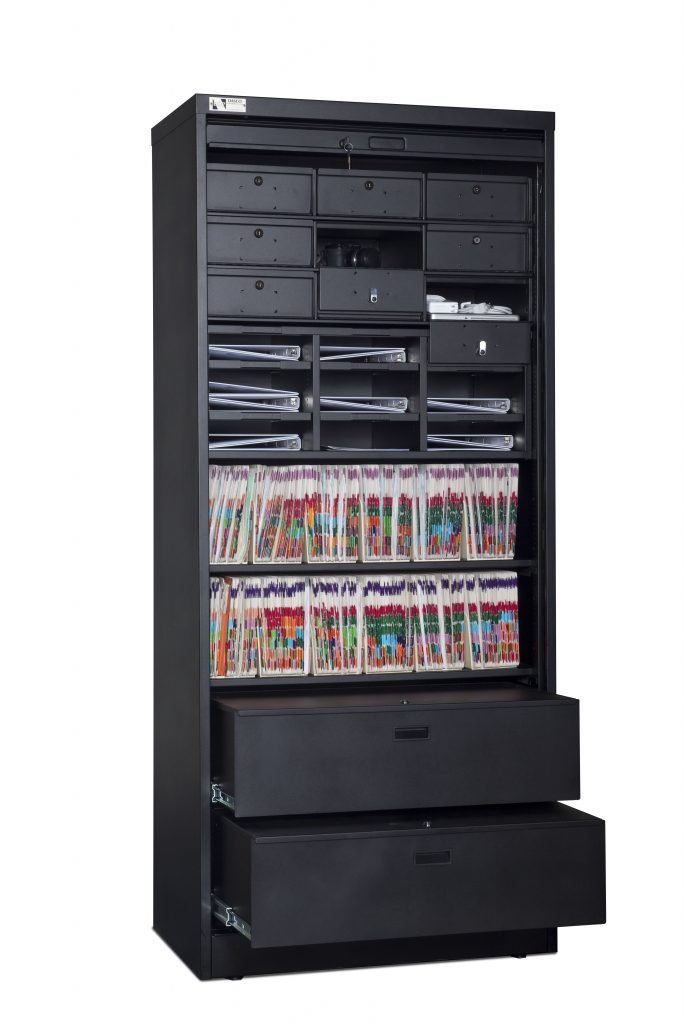 83-Inch High Secure Media Cabinet Open With Storage Components