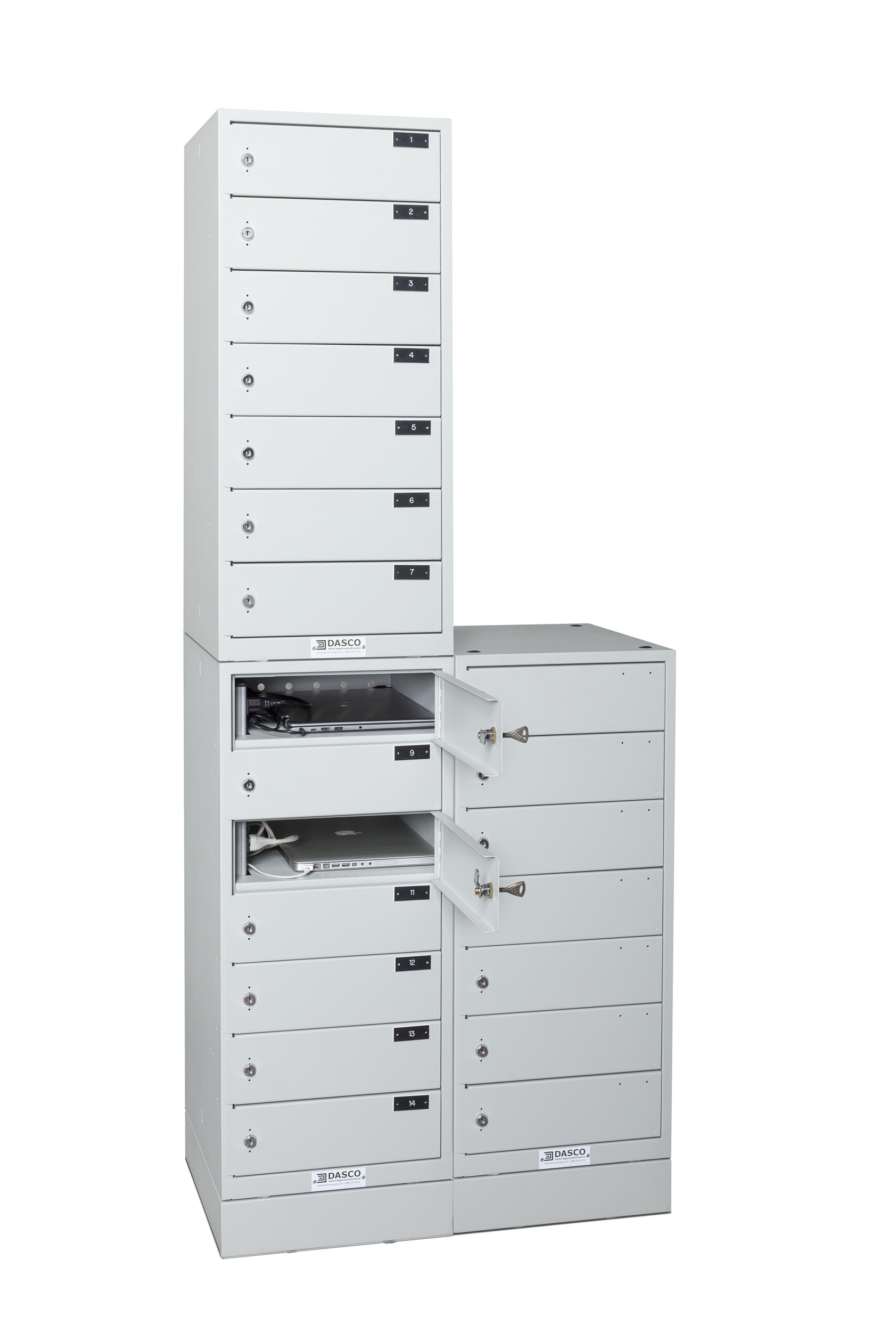 Stacked 7-Compartment Laptop Tower Bank