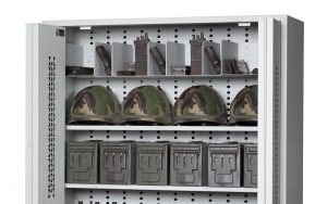 72-Inch High Bi-Fold Weapon Rack With Storage Shelves