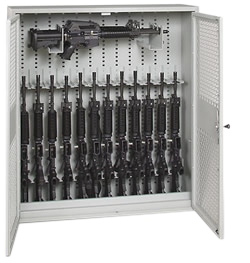 48-Inch High Stackable Weapons Rack Open With Weapons