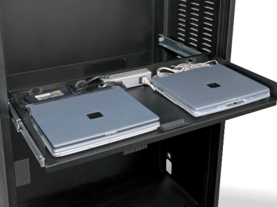 Double-wide powered laptop drawer no lids