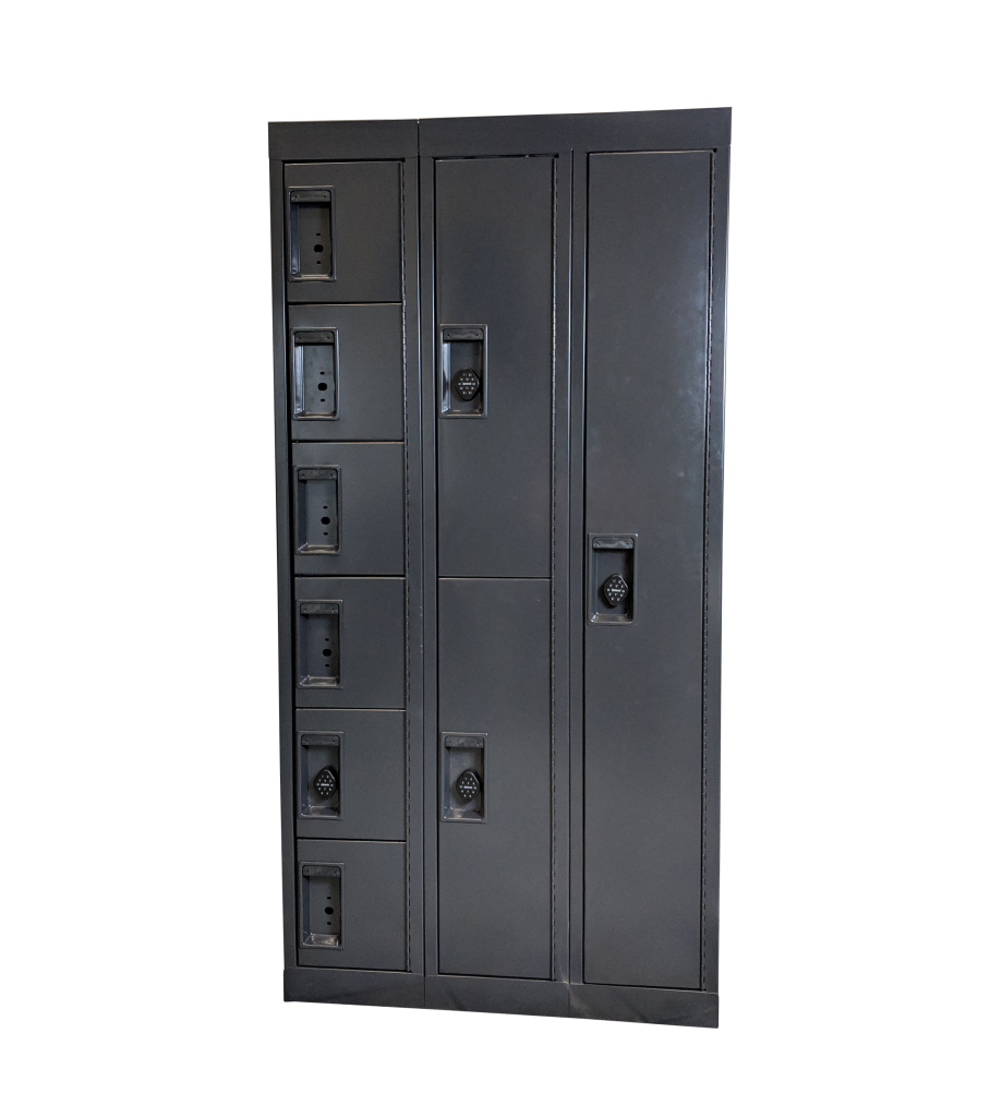 Pass-Through Evidence Storage with Closed Locker Compartments