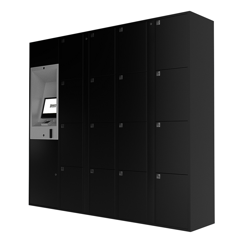 Black E-Locker Access Kiosk and Locker Cabinets - Angle View