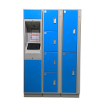 Blue E-Locker Access Kiosk and Locker Cabinet - Front View