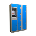 Blue E-Locker Access Kiosk and Locker Cabinet - Angle View