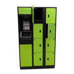 Green E-Locker Access Kiosk and Locker Cabinet - Front View